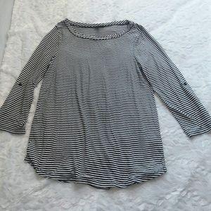 Cupio black & white striped ¾ sleeve top s